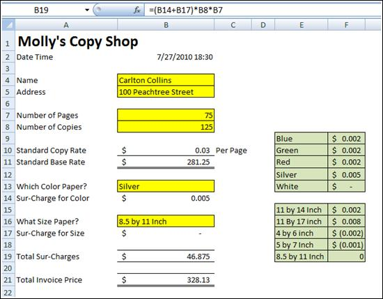 Carlton's Copy Shop Case Study Using Excel 2010